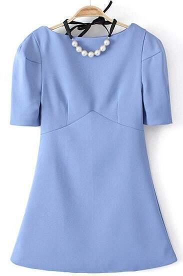 Blue Boat Neck Puff Sleeve Bodycon Dress