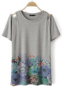 Grey Short Sleeve Off the Shoulder Floral T-Shirt