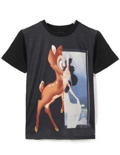 Black Short Sleeve Deer Print Loose T-Shirt