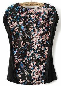 Black Sleeveless Floral Birds Print T-Shirt