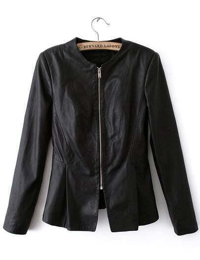 Black Long Sleeve Slim Ruffle Coat