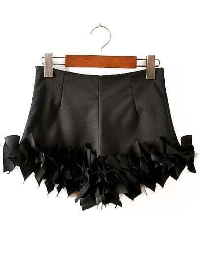 Black Slim Bodycon Ruffle Shorts