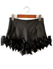 Black Slim Bodycon Ruffle Shorts