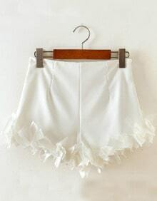 White Slim Bodycon Ruffle Shorts