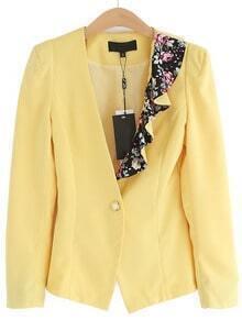 Yellow Long Sleeve Asymmetrical Floral Blazer