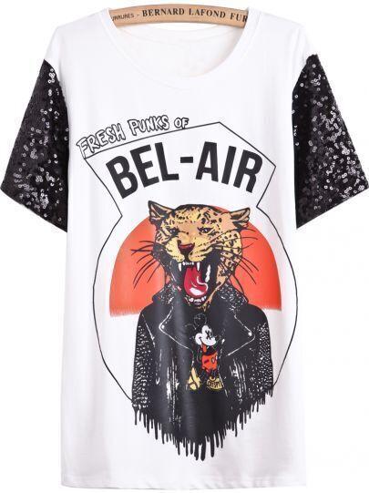 White Contrast Lace Short Sleeve Leopard Print T-Shirt