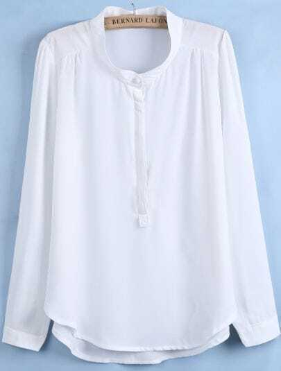 White Stand Collar Dipped Hem Chiffon Blouse