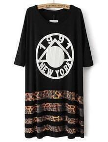 Black Half Sleeve Striped Geometric Print Dress
