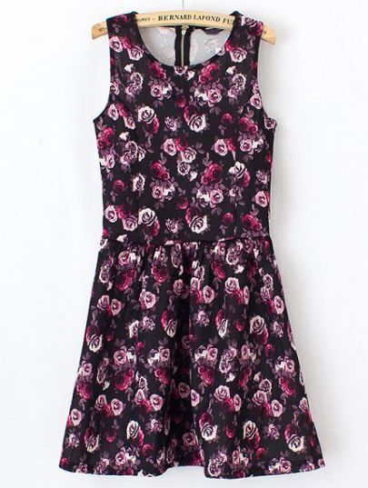 Black Sleeveless Rose Print Ruffle Dress