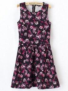 Black Sleeveless Rose Print Ruffle Dress
