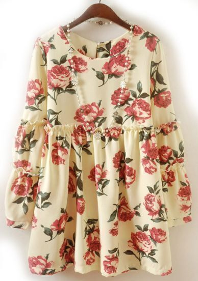 Apricot Long Sleeve Floral Pleated Chiffon Dress
