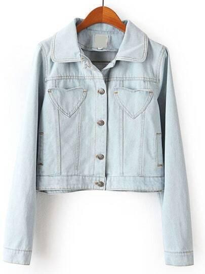 Blue Lapel Long Sleeve Crop Denim Jacket