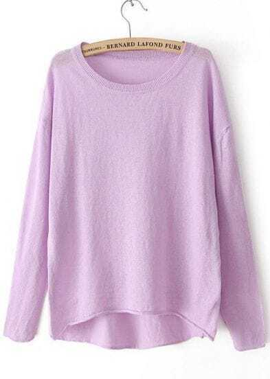 Purple Long Sleeve Dipped Hem Knit Sweater