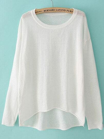 White Long Sleeve Dipped Hem Knit Sweater