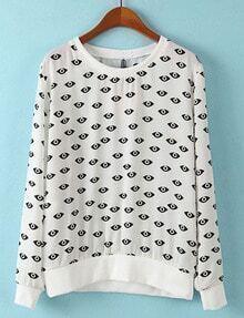 White Long Sleeve Eyes Print Loose Sweatshirt