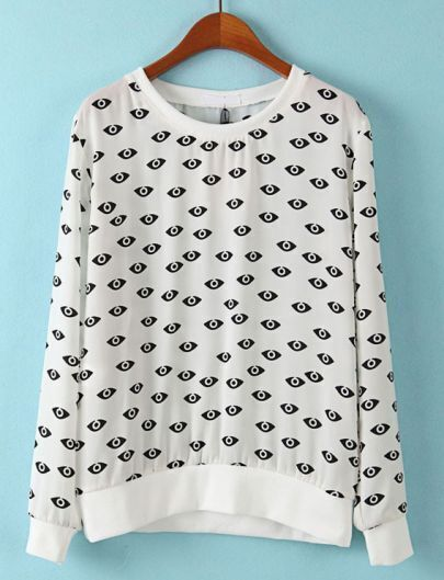White Long Sleeve Eyes Print Loose Sweatshirt