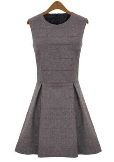 Grey Round Neck Sleeveless Plaid Ruffle Dress