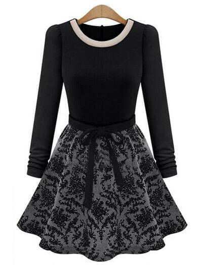 Black Long Sleeve Contrast Floral Ruffle Dress