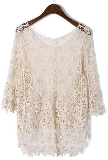 Apricot Mid Sleeve Crochet Mesh Lace Top