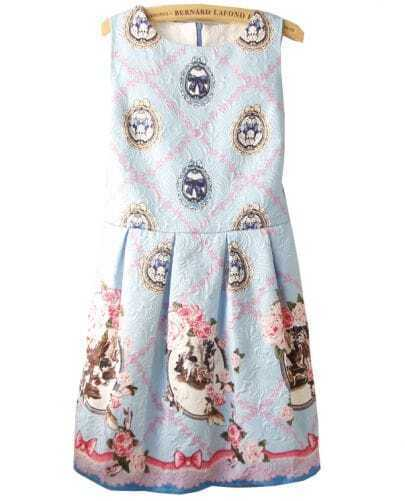 Blue Sleeveless Floral Pattern Embossment Dress