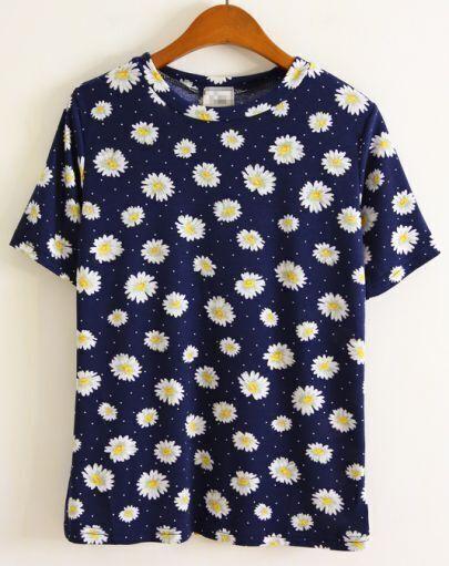 Navy Short Sleeve Flower Pattern T-shirt