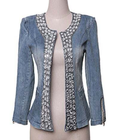 Blue Long Sleeve Diamante Denim Coat
