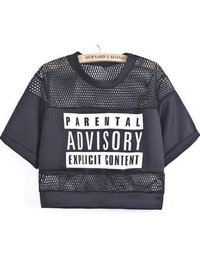 Black Contrast Hollow Mesh Yoke Letters Print T-Shirts