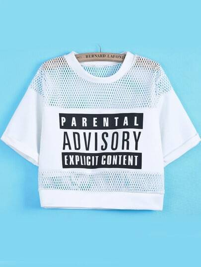 White Contrast Hollow Mesh Yoke Letters Print T-Shirts