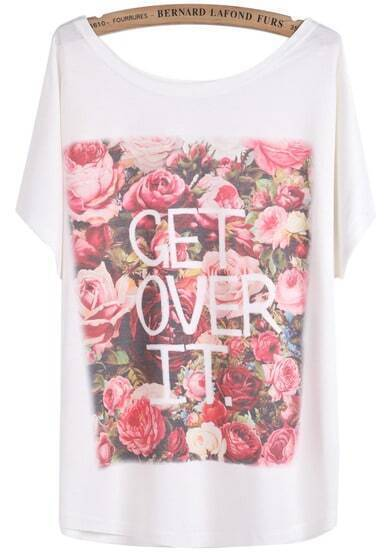 White Batwing Short Sleeve Rose Letters Print T-Shirt