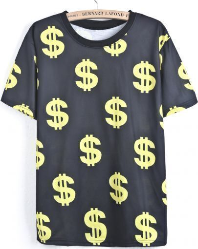 Black Short Sleeve Dollar Print T-Shirt