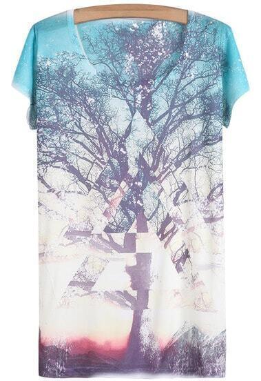 White Short Sleeve Galaxy Tree Print T-Shirt