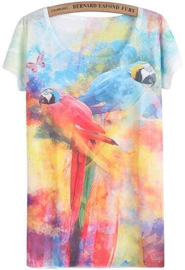 White Short Sleeve Parrot Print T-Shirt