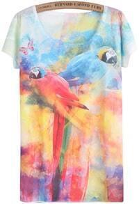 White Short Sleeve Parrot Print T-Shirt