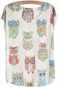 White Short Sleeve Owl Print Loose T-Shirt
