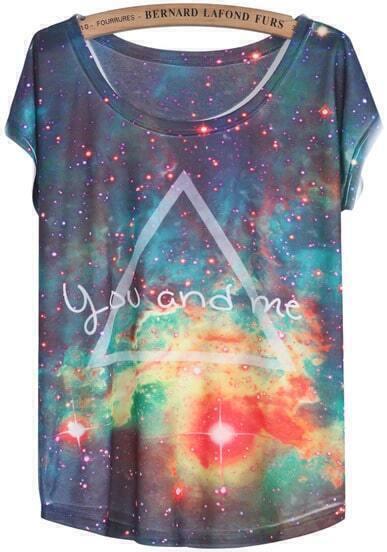 Blue White Short Sleeve Galaxy Triangle Print T-Shirt