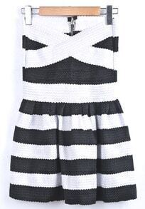 Black White Striped Strapless Pleated Dress