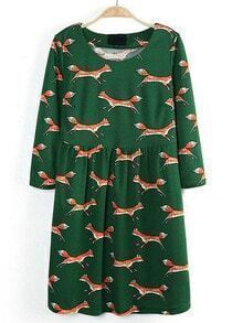 Green Round Neck Long Sleeve Fox Print Dress