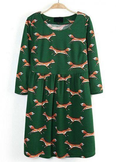 Green Round Neck Long Sleeve Fox Print Dress