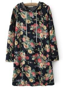 Black Hooded Long Sleeve Floral Straight Dress