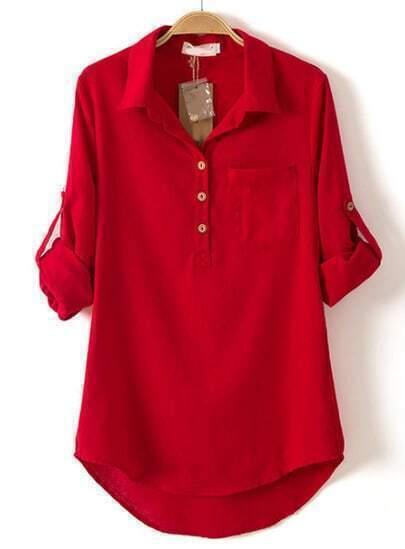 Red Lapel Long Sleeve Pocket Dipped Hem Blouse