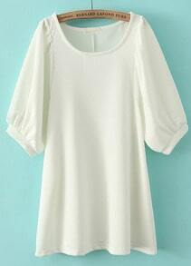 White Round Neck Half Sleeve Loose Blouse