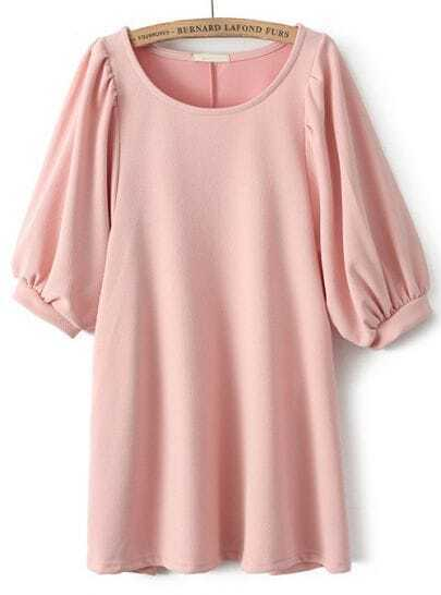 Pink Round Neck Half Sleeve Loose Blouse