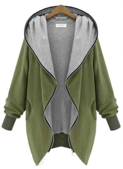 Green Hooded Long Sleeve Pockets Loose Coat