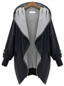 Hooded Pockets Loose Coat