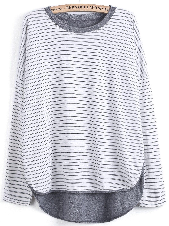 Grey white striped long sleeve dipped hem t shirt shein Grey striped t shirt