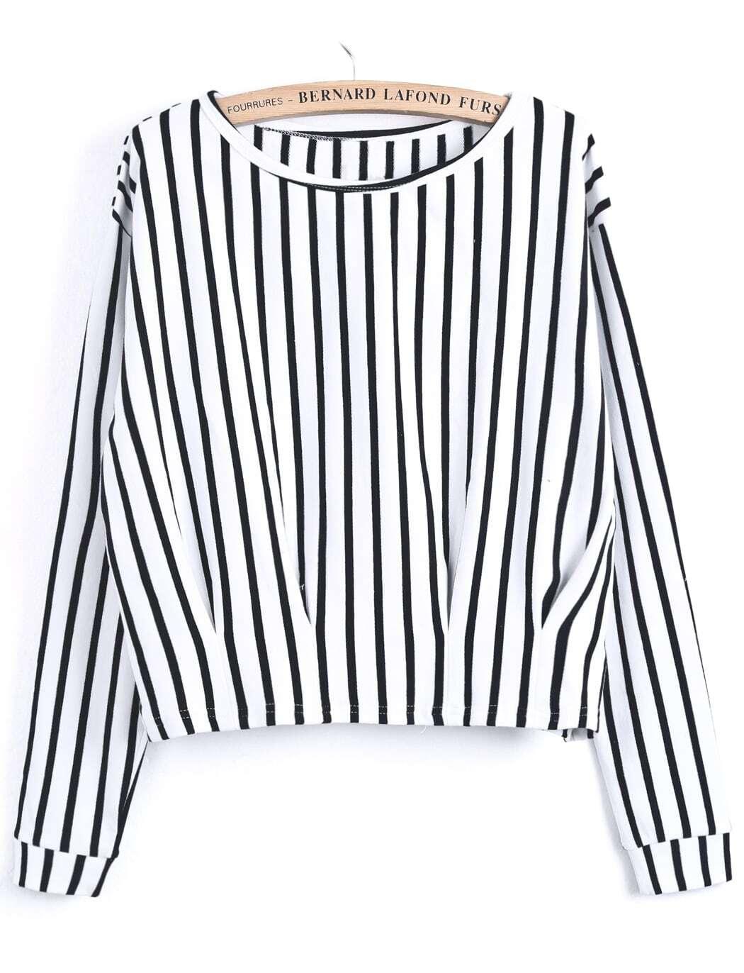 White Black Vertical Stripe Crop T-Shirt -SheIn(Sheinside)