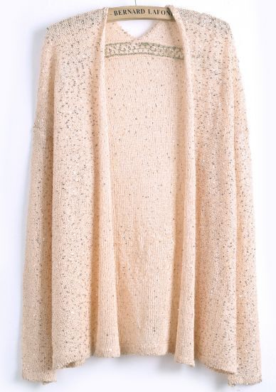 Pink Long Sleeve Sequined Knit Cardigan