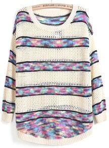 Apricot Contrast Multicolor Striped Hollow Knit Sweater