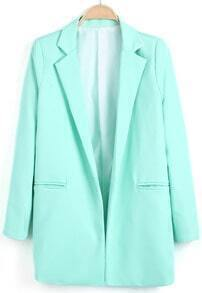 Green Notch Lapel Loose Long Blazer