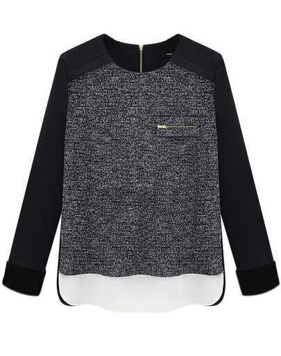 Black Long Sleeve Zipper Split Slim Blouse